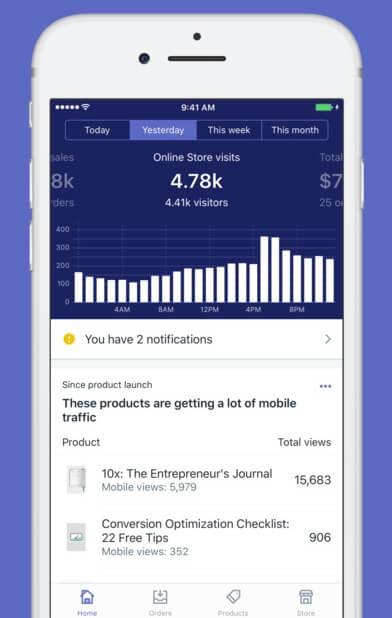 L'application mobile « Shopify »