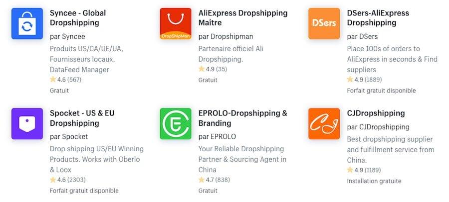Il y a énormément d'applications de drop-shipping dans la boutique d'applications de Shopify