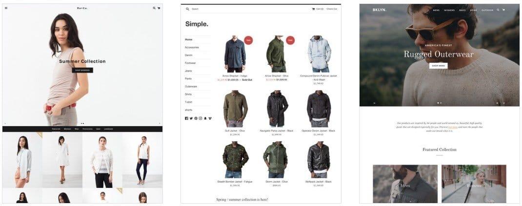 Exemples de thèmes offerts par Shopify : « Boundless », « Simple » et « Brooklyn »