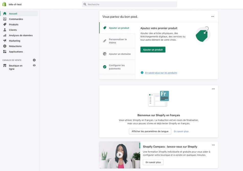 L'interface de Shopify