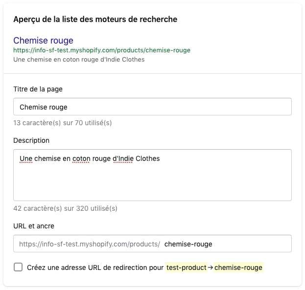 Modifier les options de SEO sur Shopify