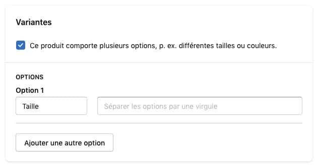 Modifier les variantes de produit sur Shopify
