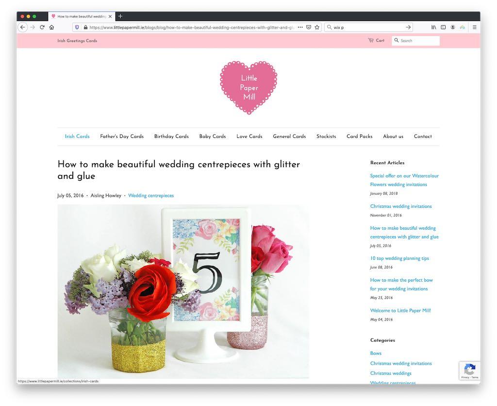Un article de blog créé avec Shopify