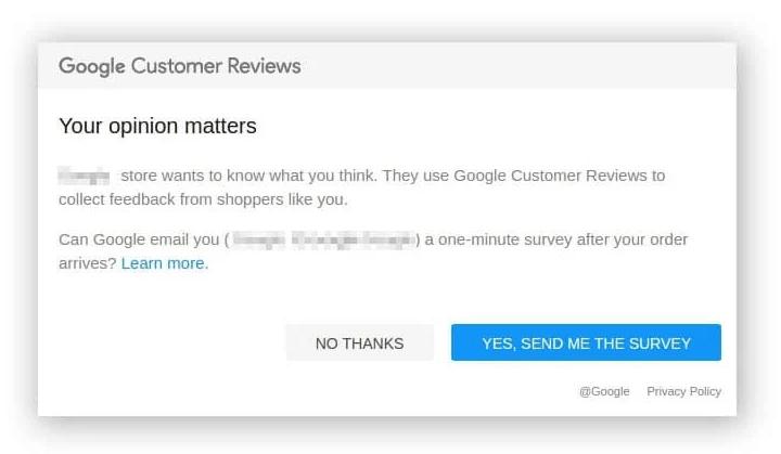 Quand vous avez activé Google Avis clients sur BigCommerce, vos clients reçoivent ce mail une fois leur commande réalisée