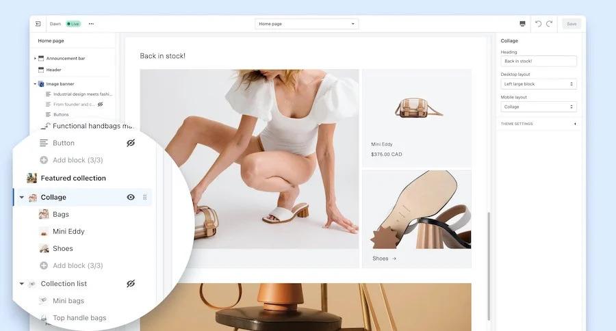 L'éditeur « Online Store 2.0 »