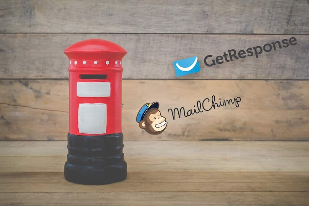 Getresponse vs Mailchimp - image of the two company logos beside a postbox