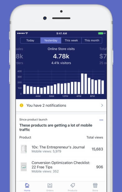 The Shopify mobile app