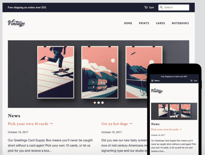 Shopify's free 'Minimal' template ('Vintage' version)