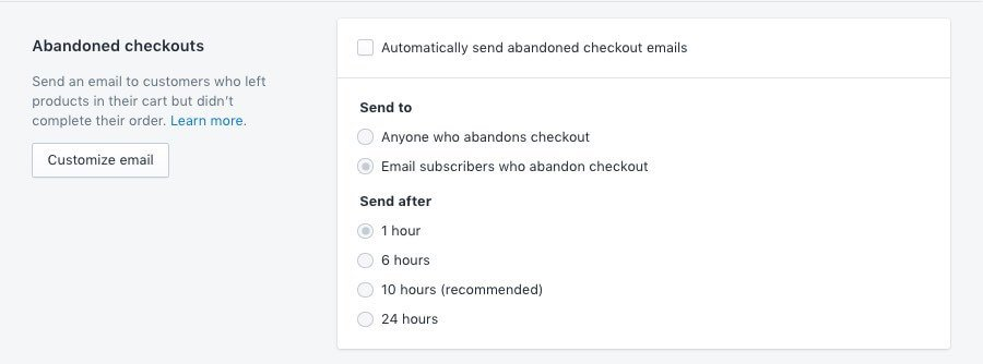 Setting up the abandoned cart email in Shopify.