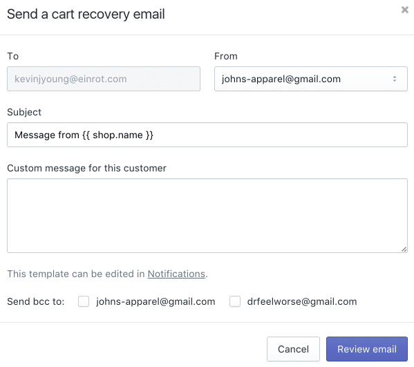 Abandoned cart recovery emails in Shopify.