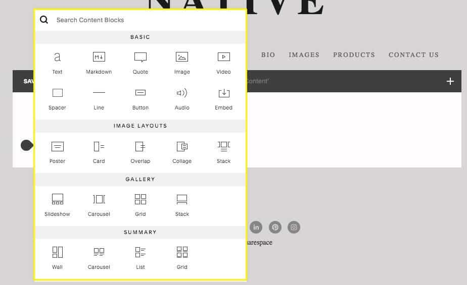 Laying out content in Squarespace is really easy, and the options for doing so are extensive.