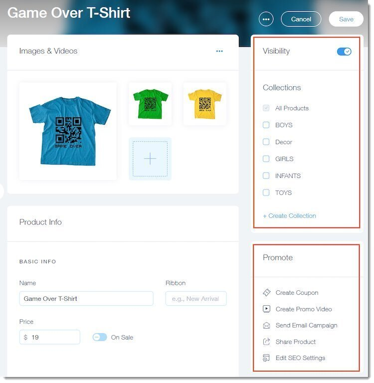 Adding products to a Wix store