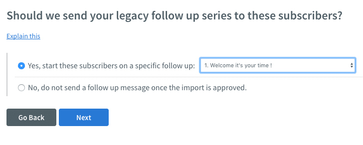 A strong aspect of the Aweber import process is the way you can add subscribers to autoresponder cycles.