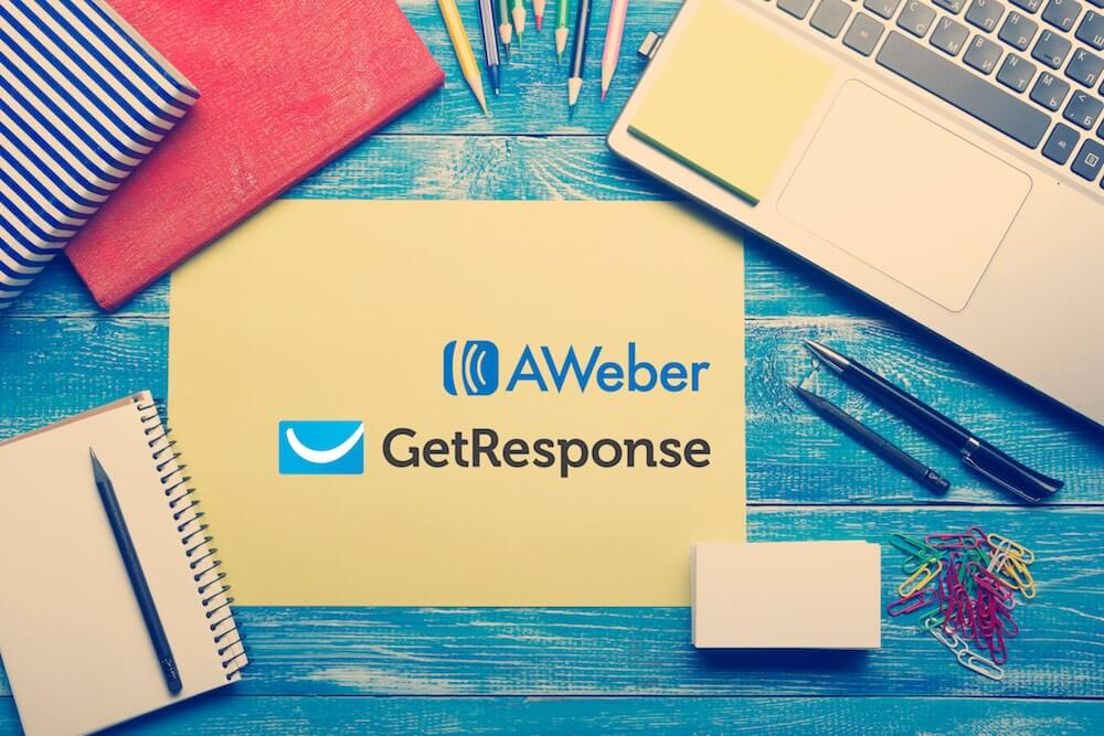 Aweber vs Getresponse (image of the two companies' logos on a piece of paper)