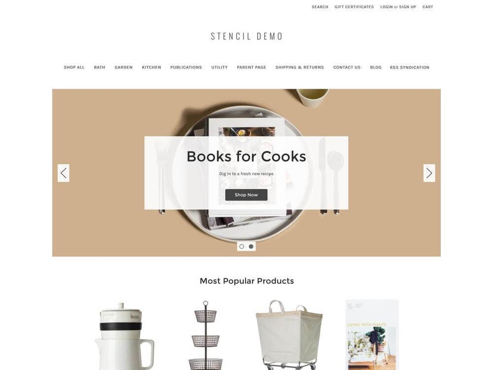 The Cornerstone Light theme from Bigcommerce.