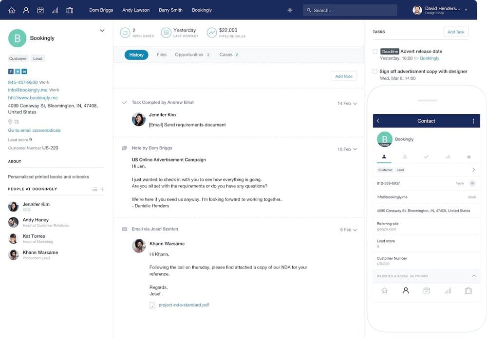 The Capsule CRM interface