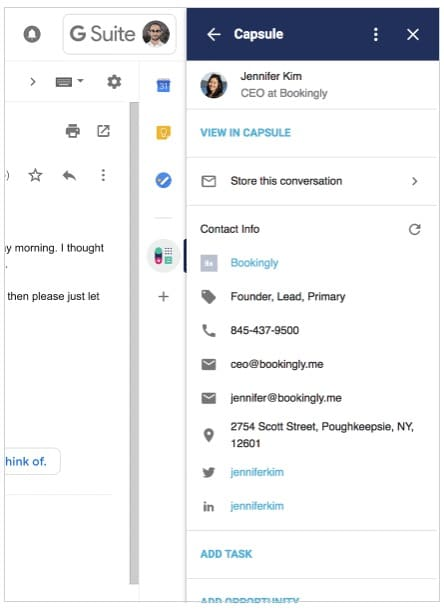 The G Suite add-on for Capsule CRM