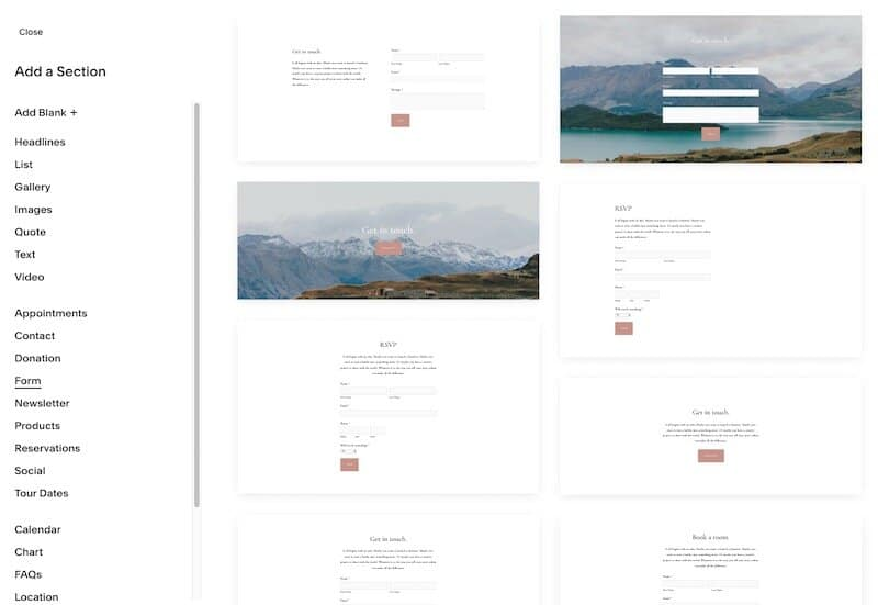 Adding content sections in Squarespace.