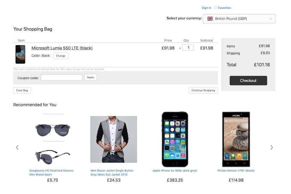 The 'Currency Converter' app in use on an Ecwid store.