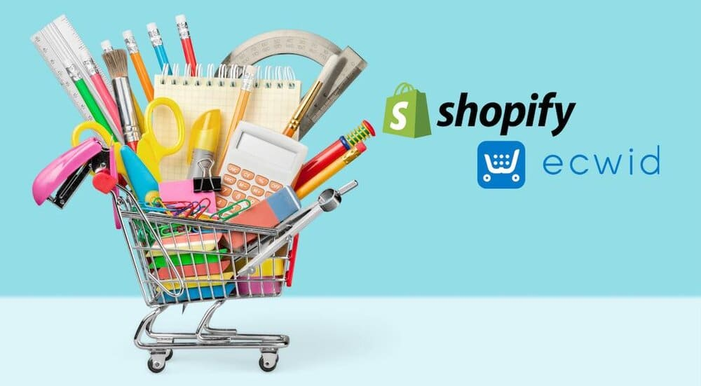 Shopify vs Ecwid (image of shopping cart accompanying the two companies' logos).