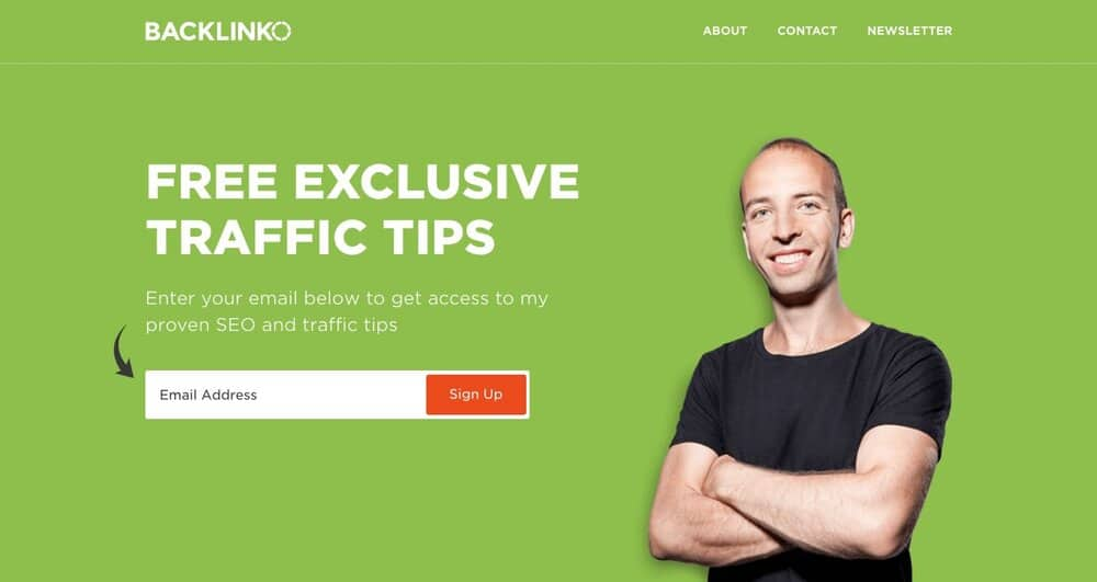 Brian Dean, who runs the popular SEO blog Backlinko, is not afraid to capture email addresses…
