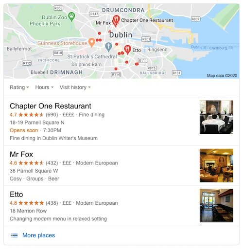 Google local search results for restaurants in Dublin