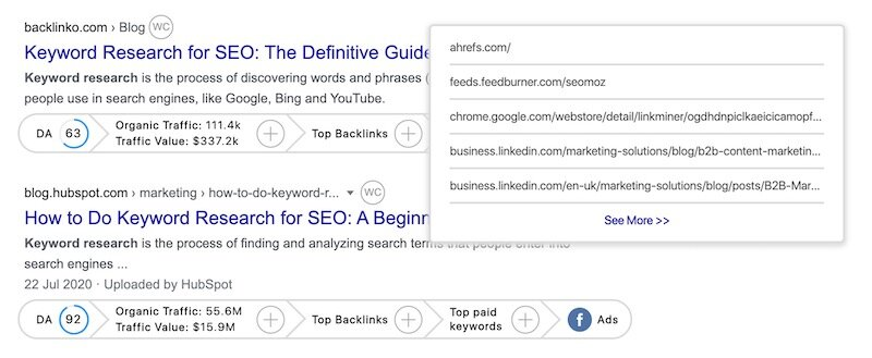 Viewing backlinks in GrowthBar