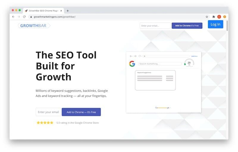 GrowthBar is a Chrome extension, not a standalone web application.