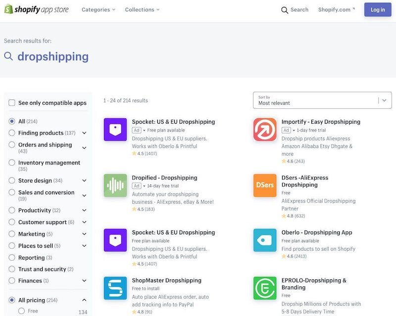 Dropshipping apps in the Shopify app store.