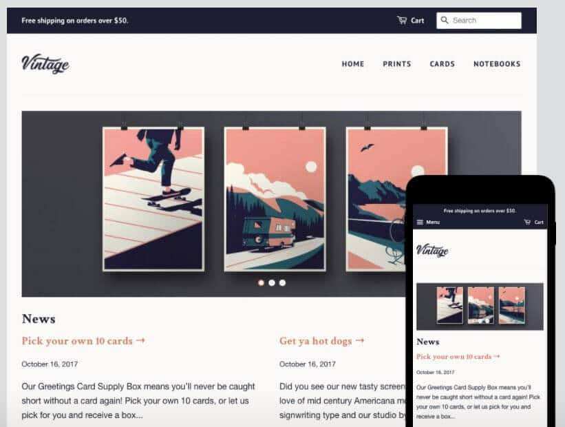 Example of a Shopify template.