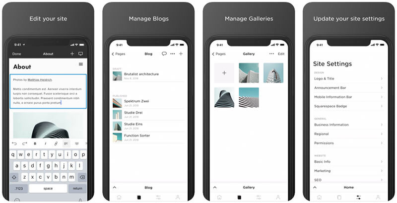 The Squarespace mobile app.