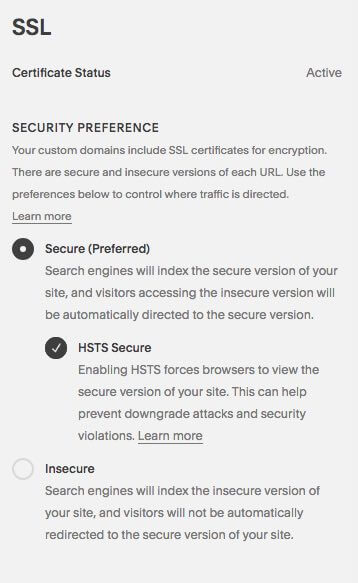 Switching on SSL in Squarespace