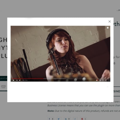 Video lightbox plugin