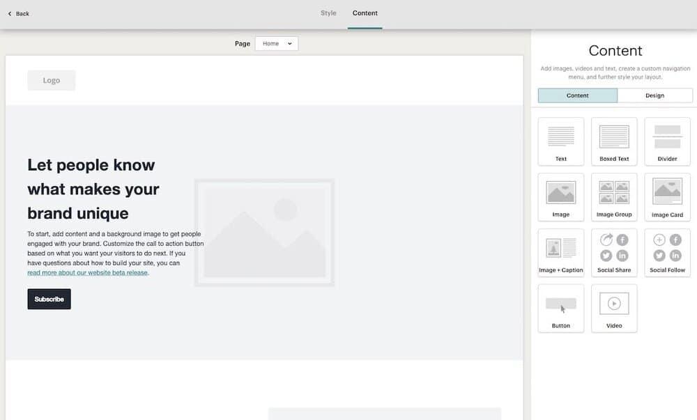 Mailchimp's new website building tool.