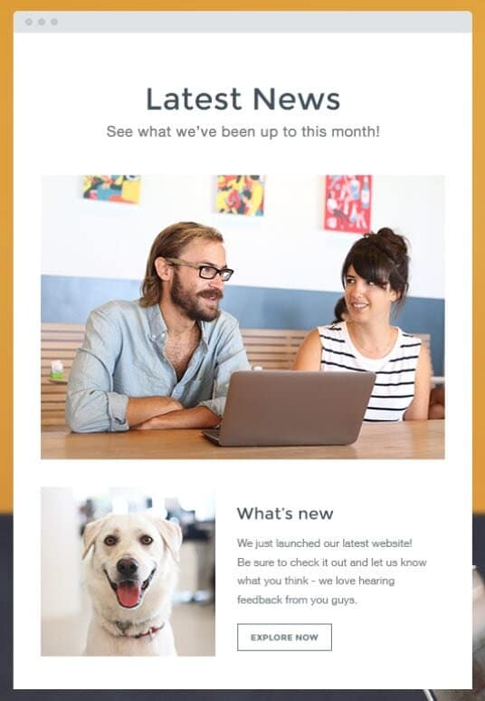 Example of a newsletter created using Wix