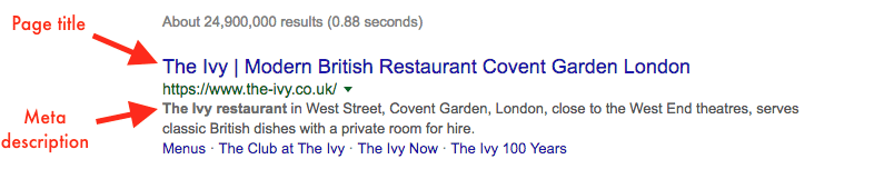 Search result example highlighting a page title and meta description.
