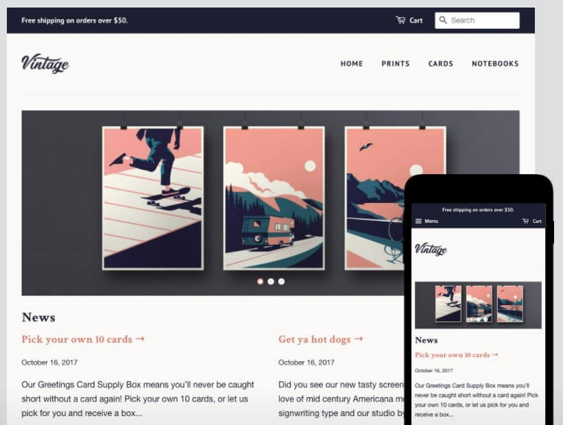 The 'Vintage' style within 'Minimal', one of Shopify's free themes.
