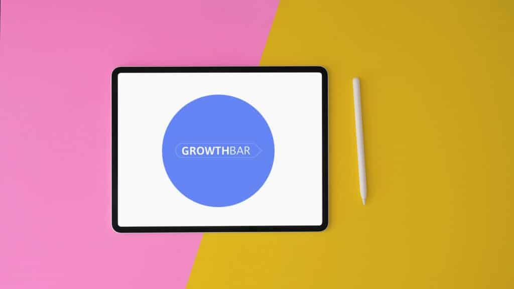 Growthbar review (image of the Growthbar logo on a tablet)