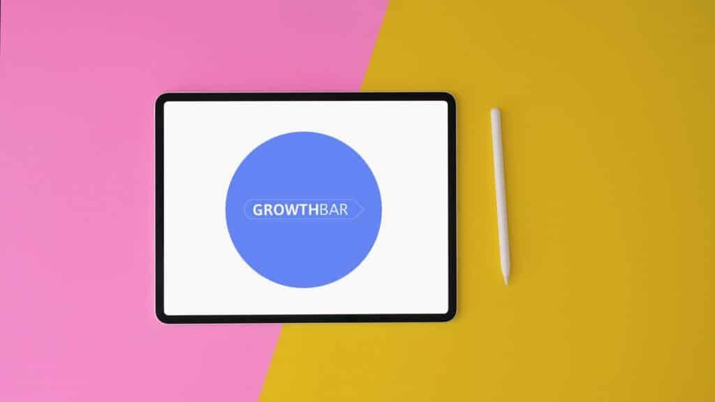 Growthbar review (image of the Growthbar logo on a tablet)