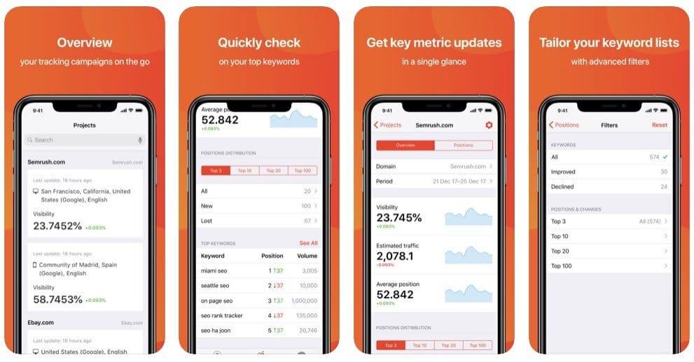 SEMrush's mobile app for rank tracking.