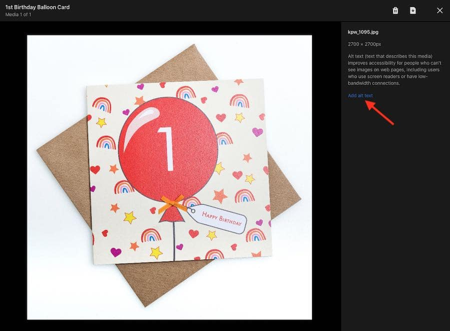 Adding alt text to product images in Shopify.