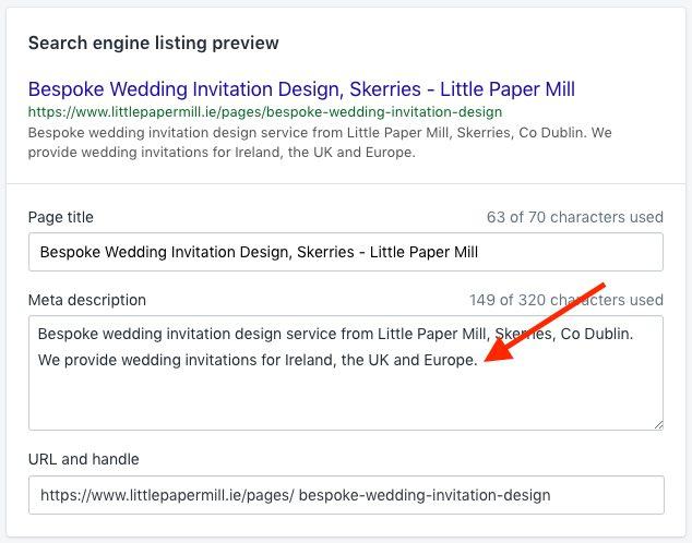 Unlike Big Cartel, Shopify makes changing meta descriptions and URLs very straightforward.