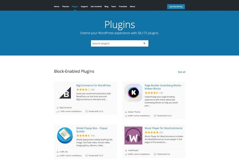 The WordPress plugin directory contains over 58,000 plugins that you can use to add functionality to your site.