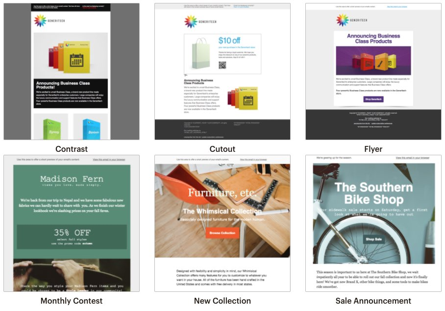 Examples of Mailchimp templates