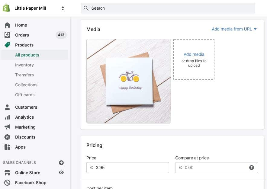 The Shopify interface