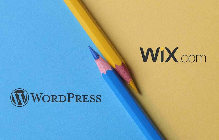 Wix vs WordPress (image of the two logos side by side)