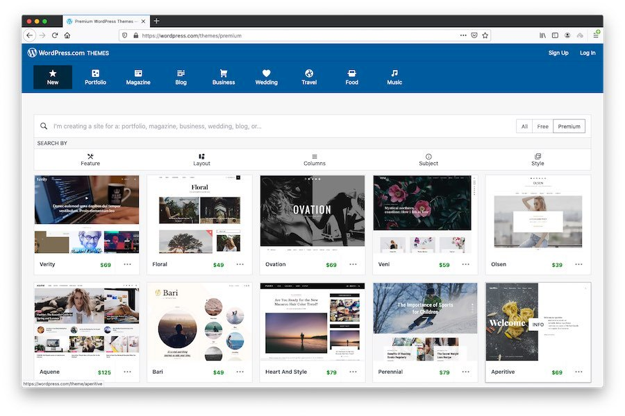 Premium themes for hosted WordPress