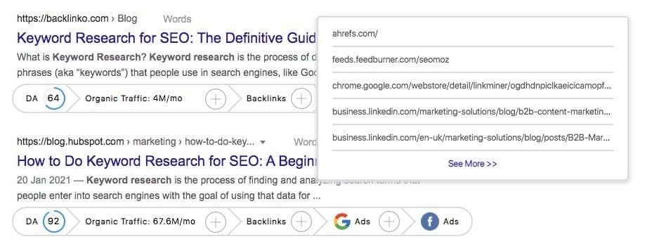 Viewing backlinks using GrowthBar's Chrome Extension.