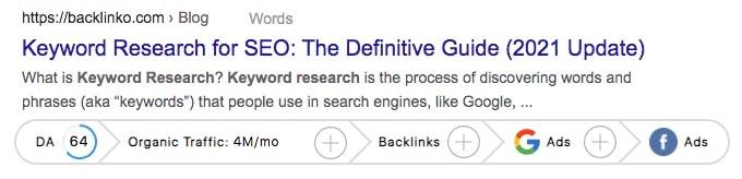 GrowthBar SEO metrics in Google.