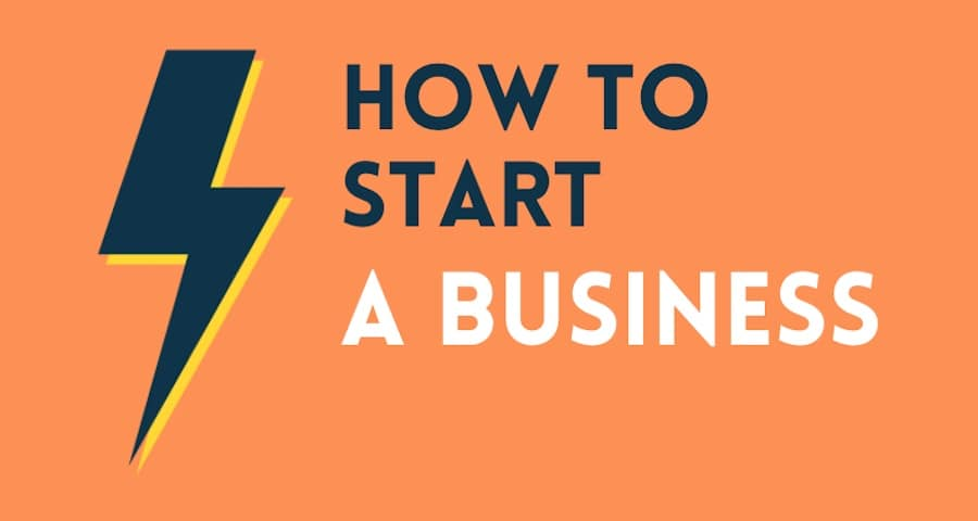 How to start a business (blog post graphic containing a thunderbolt).